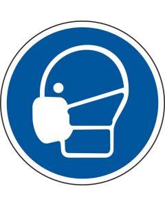 Grafica del pavimento in mat. vinilico, pittogramma: Indossare la mascherina, autoadesivo, Blu/Bianco