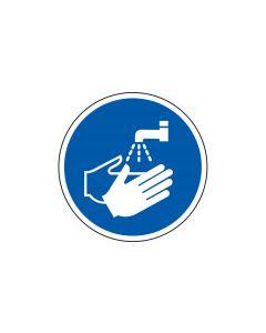 Grafica del pavimento in mat. vinilico, pittogramma: Lavarsi le mani, autoadesivo, Blu/Bianco