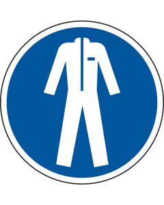 Grafica del pavimento in mat. vinil, pittogramma: Indossare indumenti protettivi, autoadesivo, Blu/Bianco