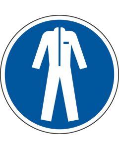 Grafica del pavimento in mat. vinilico, pittogramma: Indossare indumenti protettivi, autoadesivo, Blu/Bianco