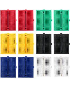 Electrely 12 Pezzi Mini Breadboard, 170 Tie-Punti Piccolo Senza Saldatura Sperimentazione Breadboard per Arduino UNO MEGA 2560 Nano (6 Colori - Blu + Nero + Rosso + Verde + Giallo + Bianco)