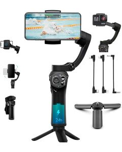 Gimbal Smartphone Snoppa Atom Foldable, Stabilizzatore Smartphone 3 Assi, per Cellulare iPhone Huawei Xiaomi Samsung etc, stabilizzatore per gopro 8 7 6 5, 310g carico utile, durata 24 ore,Pan 360°