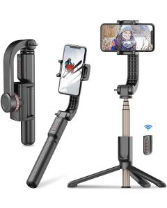 Gimbal - Stabilizzatore anti-shake girevole a 360°, con Bluetooth, espandibile, con telecomando, pieghevole, monopiede wireless per smartphone (black)